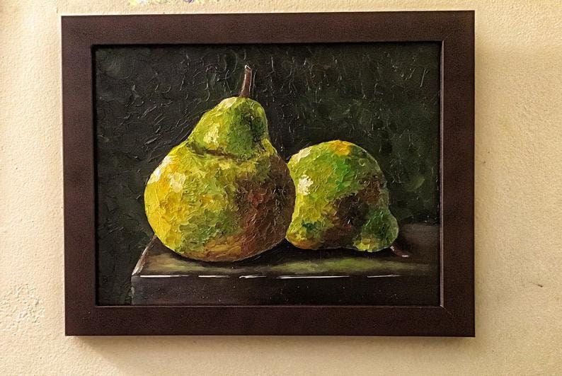 Rustic Chic Impressionist Painting Soft Pears Abstract Oil Impasto Painting