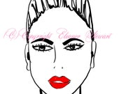 Lipstick Red Sophisticated Face Pearls Fashion Illustration A4 Art Print by Eleanor Stewart