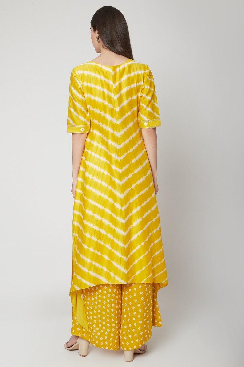 Bandhani tie dye summer resort style chanderi tunicbeach style free size leheriya bandhani dress with culottesbohoplus size clothing