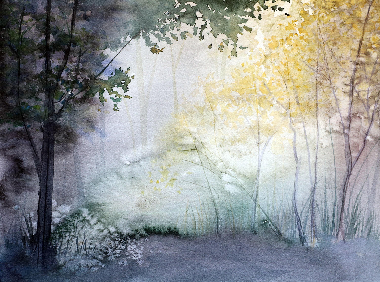 Fuchsia forest A4 watercolour print