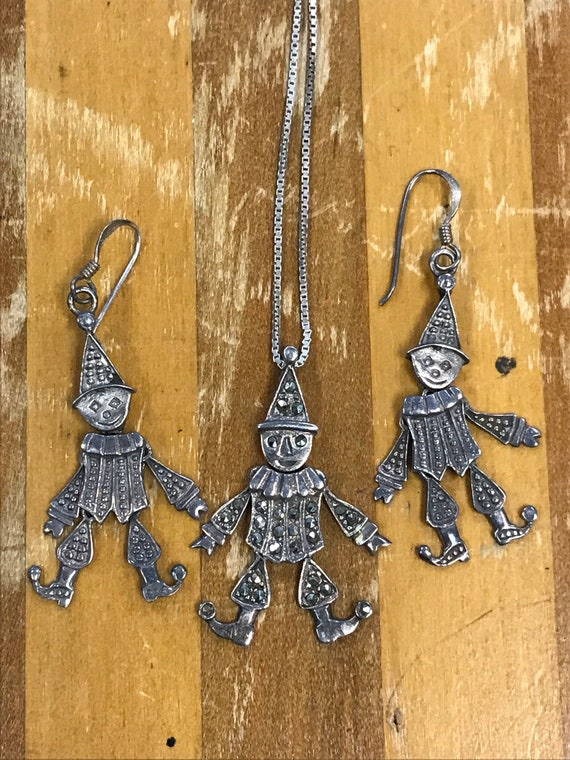 Vintage Sterling Clown Necklace and Earring Set, S