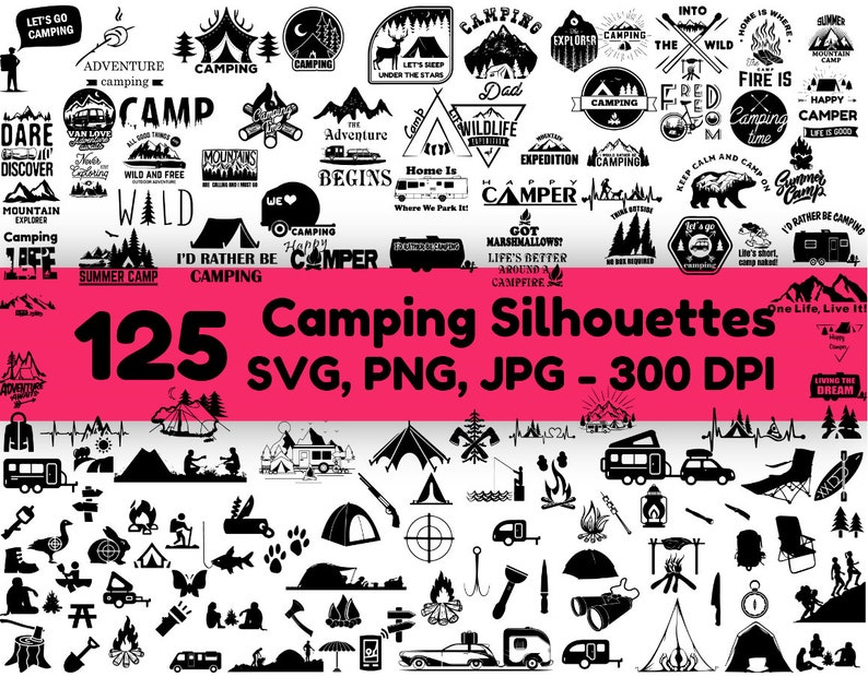 Camping Svg Bundle Camping Clipart Camp Svg Camping Cut Etsy