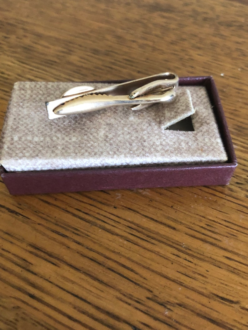Vintage Gold Tie Clip with Red Stone