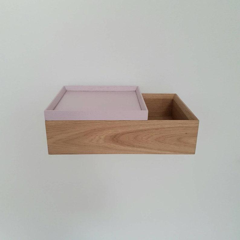 Stretto comodino galleggiante in legno di quercia moderno MvCqmRE6