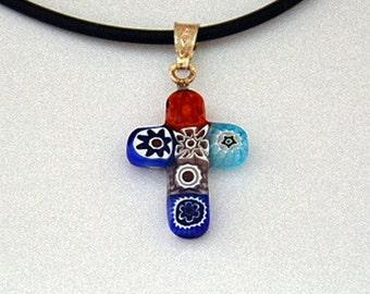 Certified Murano glass cross pendant Unique piece!