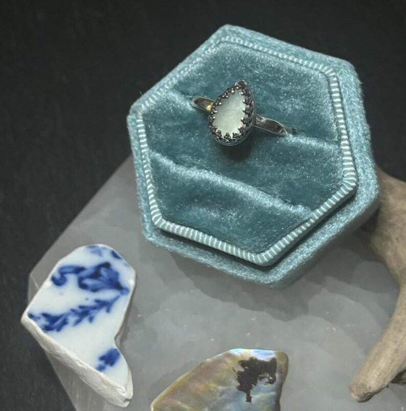 Sea Glass Teardrop Ring Sterling Silver