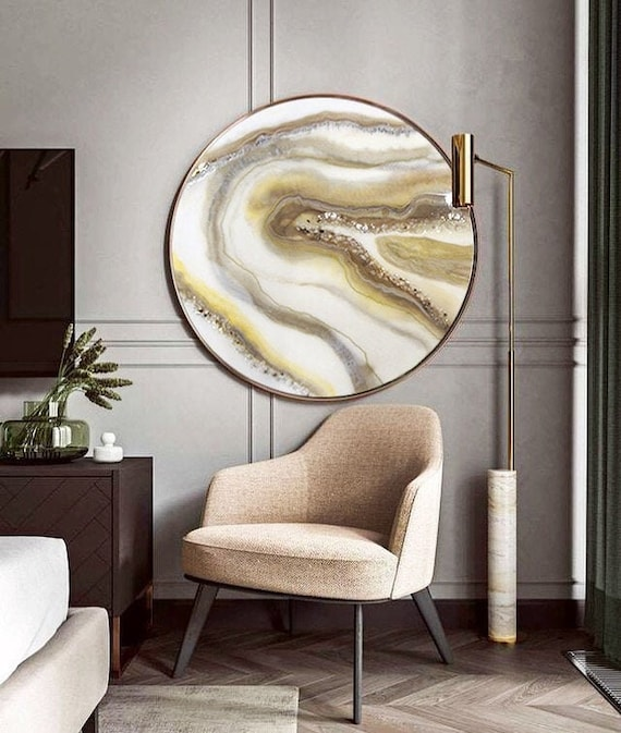 Geode Resin Art Interior Painting Epoxy Resin Beige White Picture The Stones