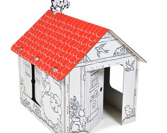 Playhouse Farm cardboard house DIY Toy house  house gift environmental toy coloring toy outdoor indoor playhouse birthday party eco-friendly