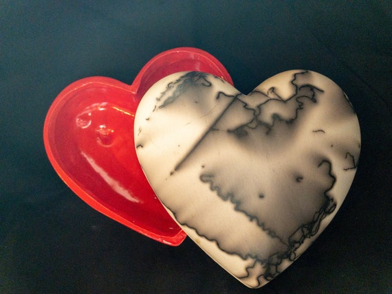 "Heart shaped 5 1/2"" jewelry/trinket box fired with horse hair!"