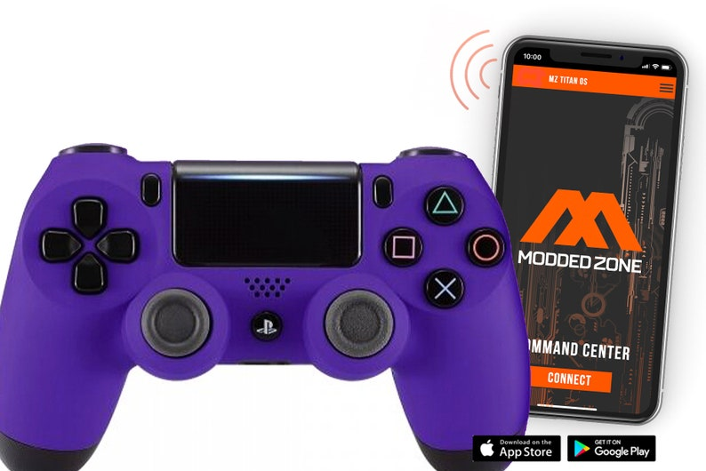 FPS mods COD Warzone Soft touch Purple PS4 SMART Custom Rapid Fire Modded Controller