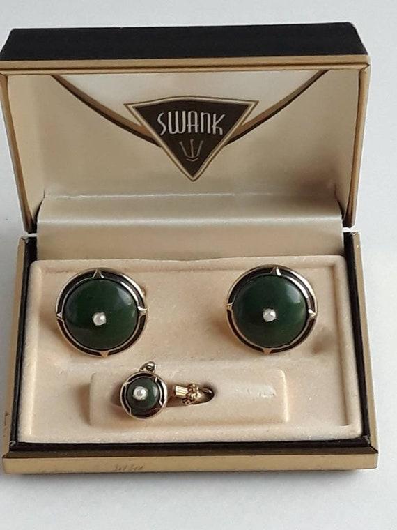 Swanky Men/'s Jewellery 1970/'s Tie Clip Black Obsidian Gold Tone Setting