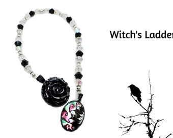 Witch's Ladder - Crystals with Black Rose & Astral Charm
