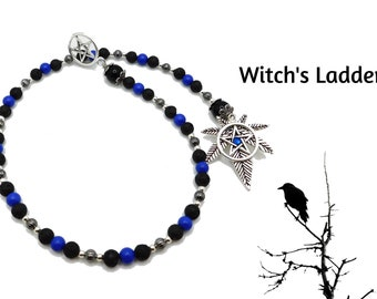 Witch's Ladder - Silver Cannabis Leaf & Pentacle