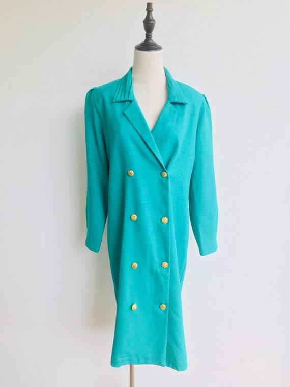 Vintage 1980s Green Women's Smock Dress Retro Styl
