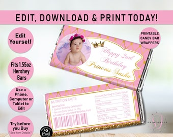 Princess Printable Miniature Candy Bar Wrappers INSTANT DOWNLOAD EDITABLE Prin1