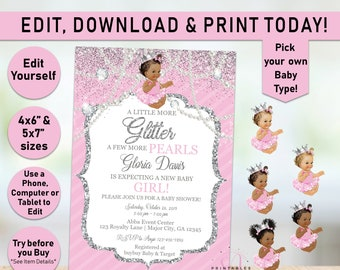 Welcome Sign Pink and Silver Baby Shower Princess Poster Signage Printable Digital File DIY Silver Crown Diamonds Pearls Ribbons Bows