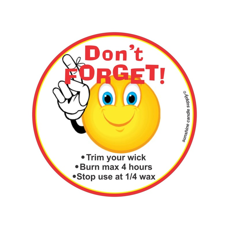 Candle safety reminder stickers  candle warning stickers candle warning labels