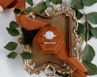 Oriole Hexagon Velvet Ring Box, Double or Single Slot, Flat Lay Styling Prop, Rust, Copper, Orange