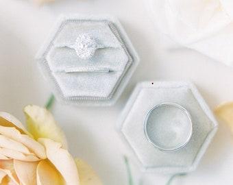 Velvet Gray Hexagon Wedding Ring Box Double Slot