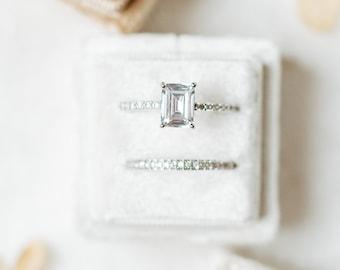 Dove White Square Velvet Ring Box Wedding Photography Flatlay Styling Engagement Gift