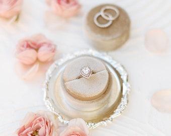 Fawn Velvet Ring Box & Silk Ribbon on Wooden Spool Set, Wedding Photography Flatlay Styling Kit, beige tan