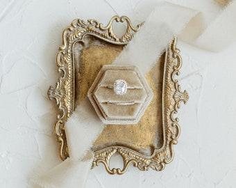 Fawn Hexagon Velvet Ring Box, Single Double Slot, Wedding Flat Lay Kit, Beige