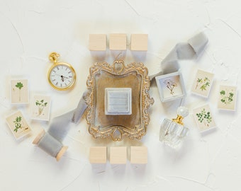 Flat Lay Styling Kit for Photographers , Vintage Gold Tray, Perfume Bottle, Pocket Watch, Vintage Stamps, Velvet Ring Box, Silk Ribbon | 013