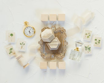 Flat Lay Styling Kit for Photographers , Vintage Gold Tray, Perfume Bottle, Pocket Watch, Vintage Stamps, Velvet Ring Box, Silk Ribbon   015