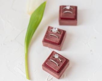 Dark Mauve Pink Square Velvet Ring Box Double Slot Wedding Photography Flatlay Styling Engagement Gift