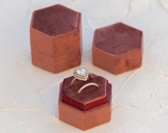 Mauve Hexagon Velvet Ring Box, Single or Double Slot, Wedding Photography Flat Lay Styling Kit