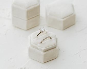 Dove White Hexagon Velvet Ring Box, Double Slot, Flat Lay Styling Kit