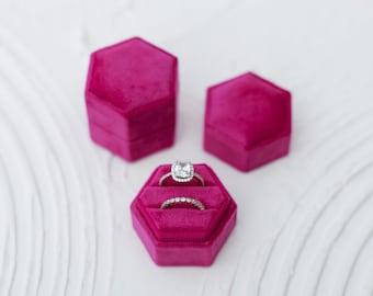 Fuchsia Pink Hexagon Velvet Ring Box Double Slot Wedding Photography Flatlay Styling Engagement Gift