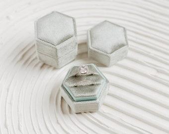 Traverse Bay Velvet Hexagon Ring Box, Double Slot, Flat Lay Styling Props, Sage Blue Green