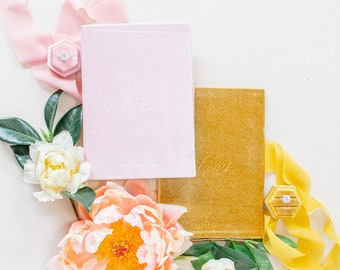 Velvet Vow Book Pink with Ribbon Wedding Photographer Flat Lay Styling Prop