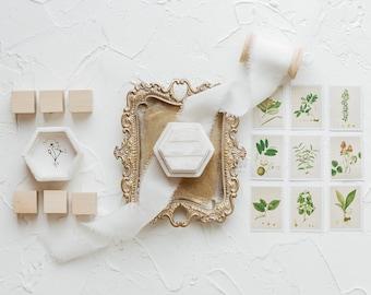 Wedding Photography Flatlay Styling Kit, White Velvet Ring Box, Silk Ribbon, Vintage Gold Tray Ring Dish, Dove