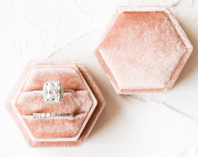 Featured listing image: Velvet Champagne Pink Hexagon Ring Box Double slot Wedding Photography Flatlay Styling Engagement Gift
