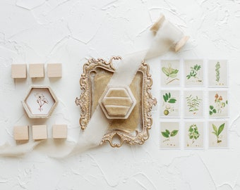 Flat Lay Styling Kit for Photographers Props, Fawn Tan Velvet Ring Box, Gold Ring Dish Tray, Vintage Stamps, Silk Ribbon, Styling Blocks