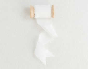 Dove White Frayed Edge Silk Ribbon with Wooden Spool Flat Lay Styling Ribbon White