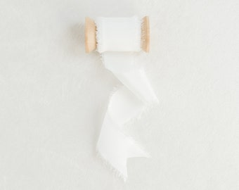 Dove White Frayed Edge Silk Ribbon with Wooden Spool Flat Lay Styling Ribbon