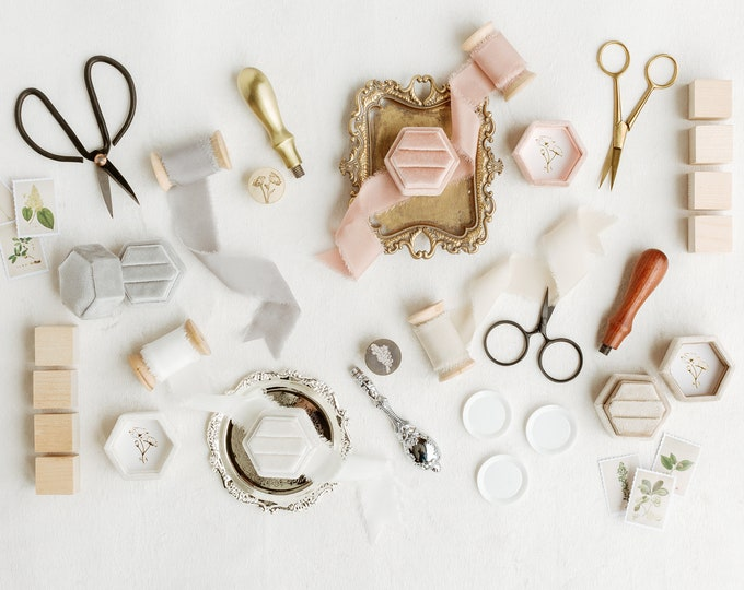 Featured listing image: Flat Lay Styling Kit for Photographers , The Everything Collection, Ring Box, Silk Ribbon, Scissors, Wax Seal Stamp, Stamps, Silver, Gold
