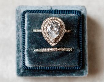 Dusty Blue Square Velvet Ring Box Double Slot Wedding Photography Flatlay Props