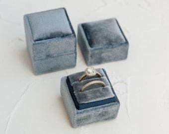 Sea Blue Square Velvet Ring Box, Double or Single Slot, Wedding Photography Flat Lay Kit