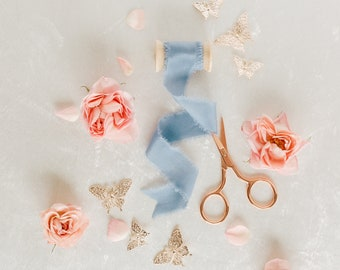 Rose Gold Flat Lay Styling Kit, Props for Photographers, Scissors, Silk Ribbon, Rosegold Butterflies