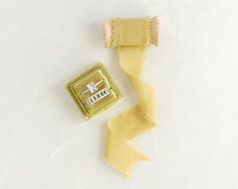 Pear Green Velvet Ring Box & Silk Ribbon on Wooden Spool Set, Wedding Photography Flatlay Styling Kit, Pea, Lime,