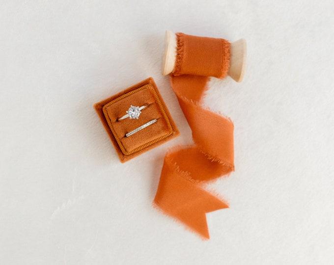 Featured listing image: Oriole Velvet Ring Box & Silk Ribbon on Wooden Spool Set Wedding Photography Flatlay Styling Kit Burnt Orange Rust