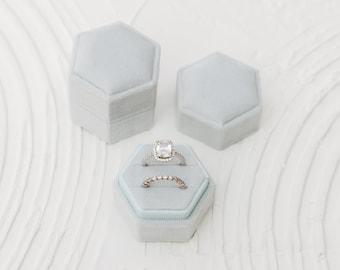 Blue Jay Velvet Hexagon Ring Box, Double Slot, Flat Lay Styling Props, Light Ice Blue