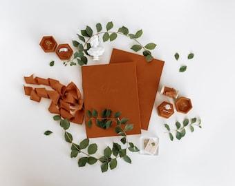 Velvet Vow Book Terracotta Orange with Silk Ribbon Wedding Photography Flat Lay Styling, Wedding Heirloom, Oriole