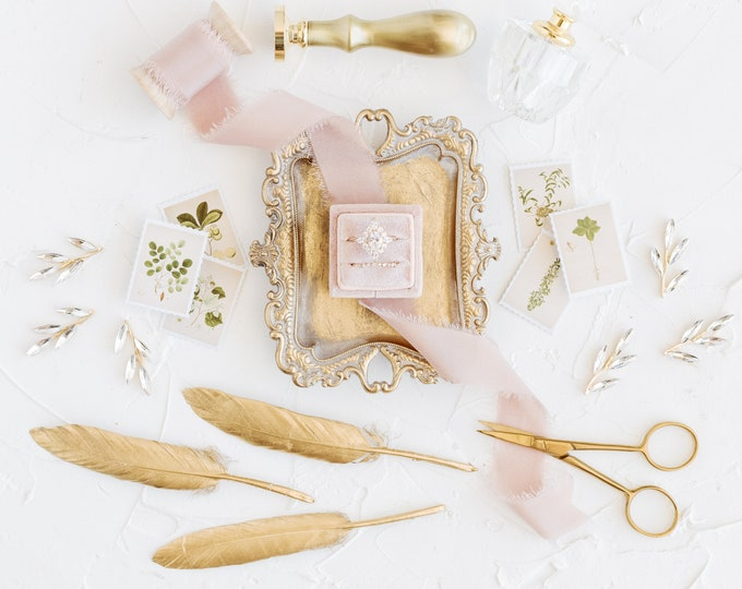 Featured listing image: Flat Lay Styling Kit for Photographers Props, Roseate Pink Velvet Ring Box, Gold Ring Dish Tray, Vintage Stamps, Silk Ribbon, Styling Blocks