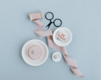 White Flat Lay Styling Nesting Plates and Ring Dish For Wedding Photographers Props -Small