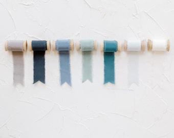 Set of 7 Blue Hues Frayed Edge Silk Ribbon with Wooden Spool Flat Lay Styling Ribbon Blue, Teal, Gray, Sage, Navy